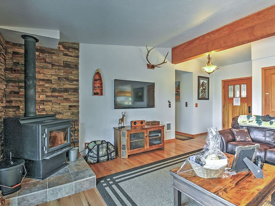 Enjoy the warmth of the woodstove in the winter
