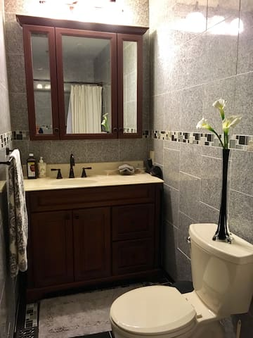 Updated shared bathroom.