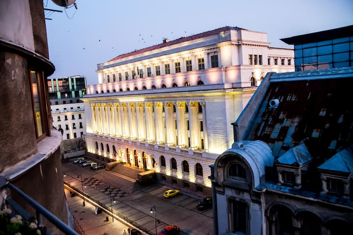 Night view of National Bank of Romania from our terrace