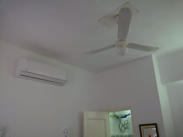 Indoor A/C unit and ceiling fan