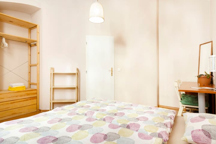 First Bedroom with 180 cm x 200 cm (71 in × 79 in) bed