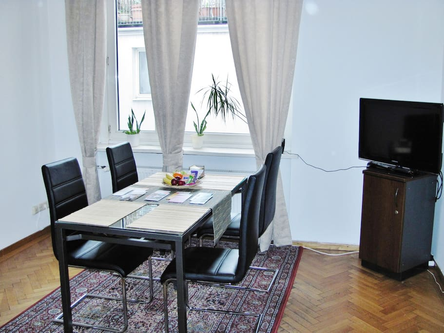 Living/ dining room with TV