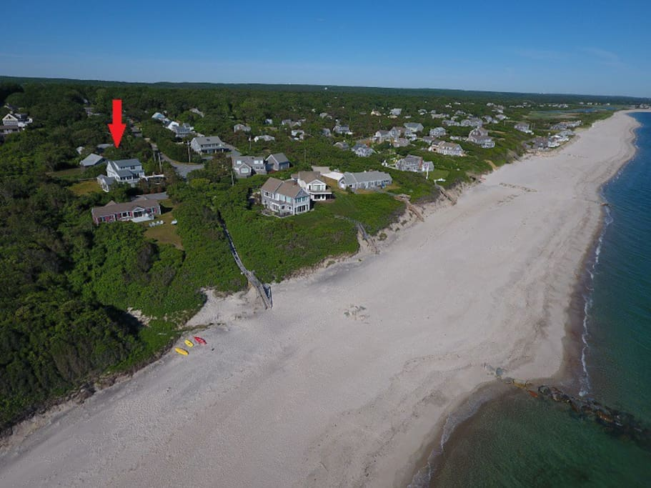 Aerial View of Beach and Home