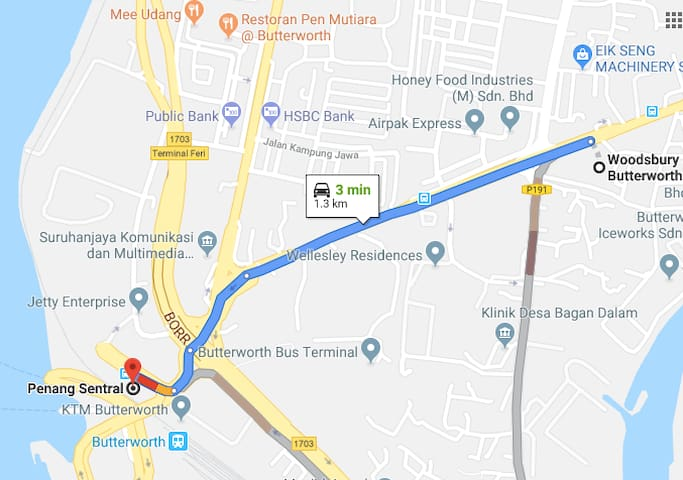 our place is 2-5 min drive from Penang Sentral.  2 min: Smooth traffic 3 min: little traffic approaching Penang Sentral (as per this screenshot) 4-5 min: Lunch time