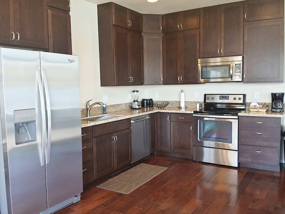 Kitchen with stainless steel appliances and beautiful granite countertops