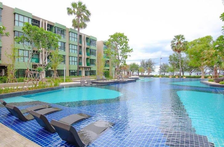 Resort Condo 10m to Beach/Pool/WiFi/Cha-Am/HuaHin