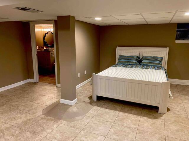 The basement guest suite is a work in progress.