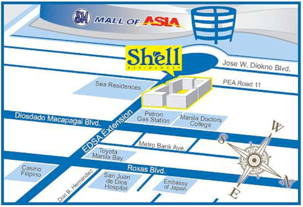 Shell residences is just in front of Mall of Asia