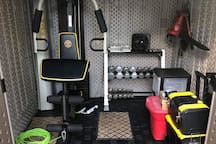 The home gym is in the shed on the deck and guests are welcome to help themselves. :)