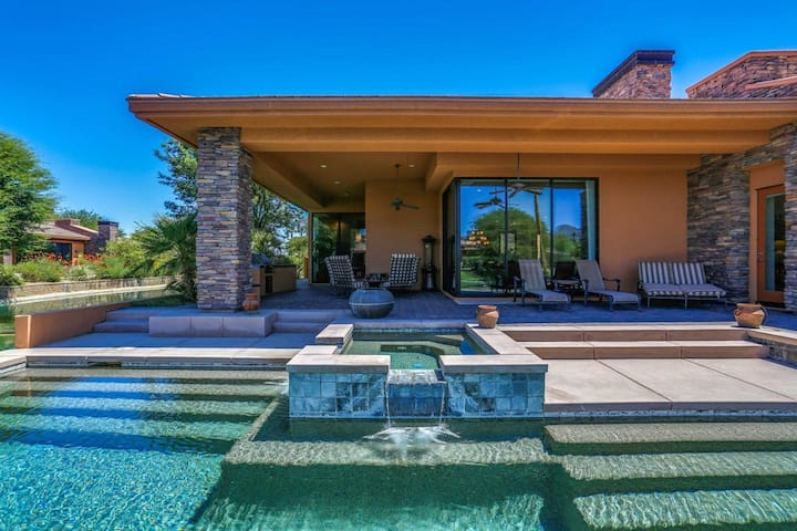 Dog-friendly luxury home w/ private pool, pool spa, hot tub, & outdoor kitchen