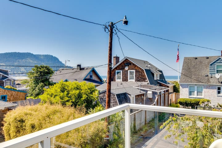 Walk to everything! Ocean views, fireplace, & spacious deck