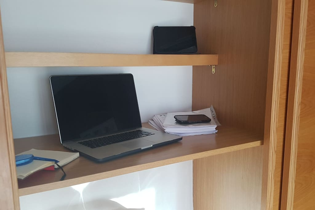 'Office' space inside the wardrobe in case you have any admin to do!