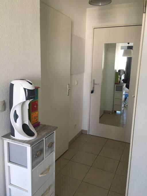 Entrée avec grand miroir. Salle de bains à gauche. WC à droite