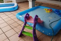 Portable pool with slide for kids