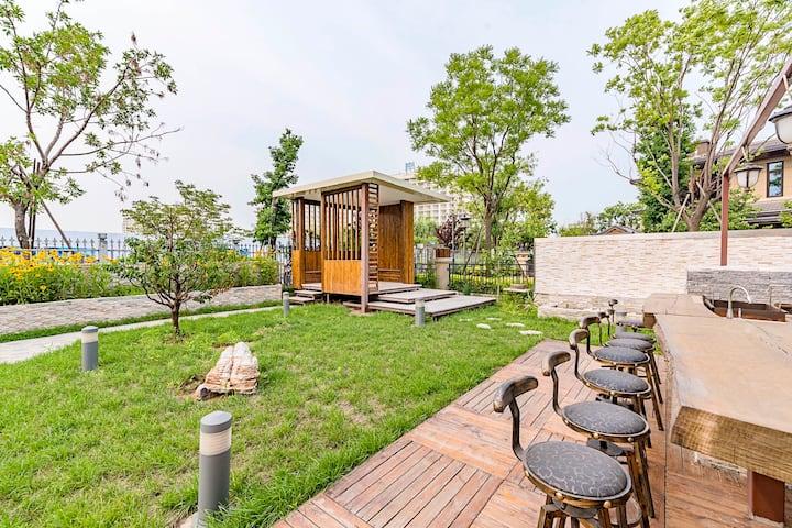 Seatopia蔚蓝海岸汐·舍别墅(私属沙滩、猫空图书馆、花园BBQ、Blue&pink、仙螺岛)