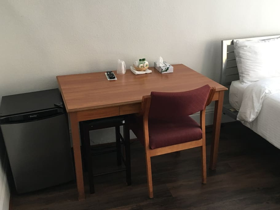 Desk and chair with fridge