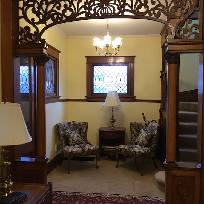 The parlor-style entryway provides a touch of old-style class.