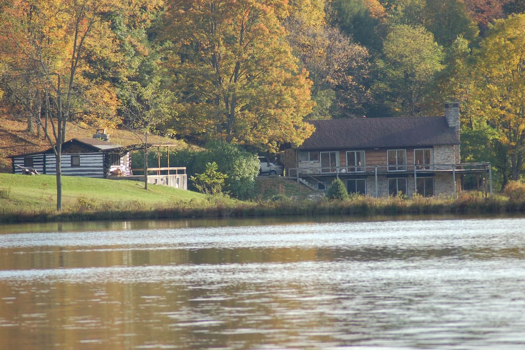 House & Cabin from Lake Bank