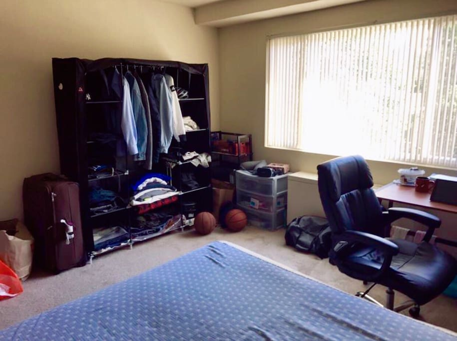 1. when the day you live, there is no big cloth wardrobe. 2. The swivel chair will be replaced by a normal chair. The rest of furniture will be there.