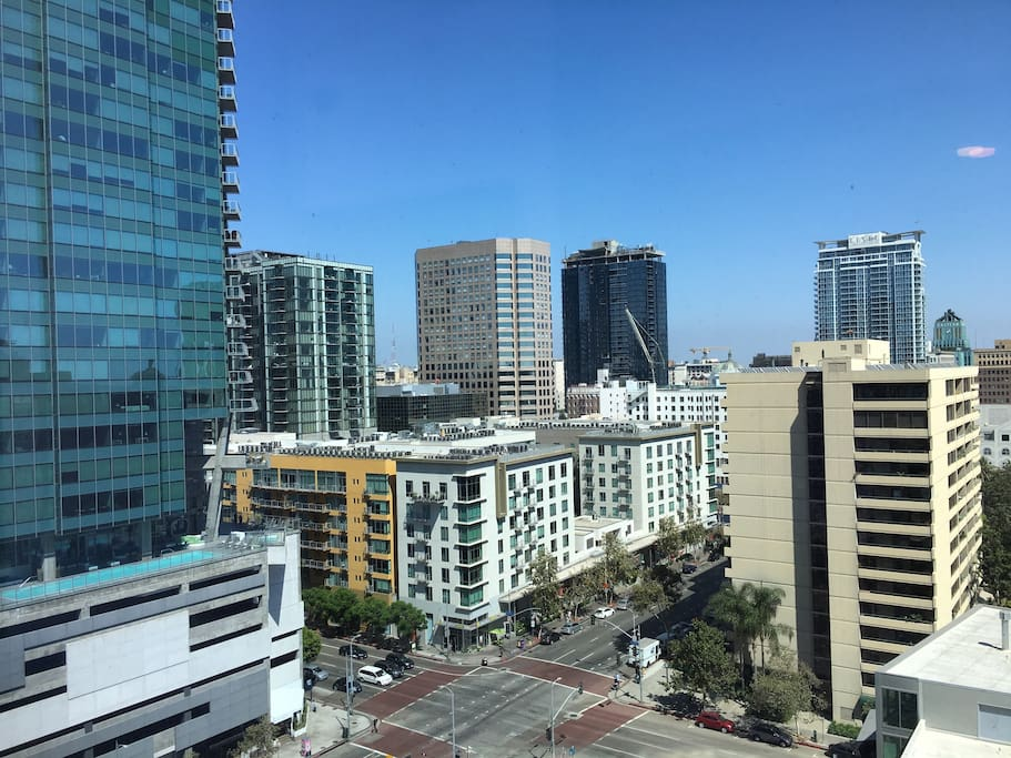 Sweeping Downtown LA skyline views from the Panoramic Windows