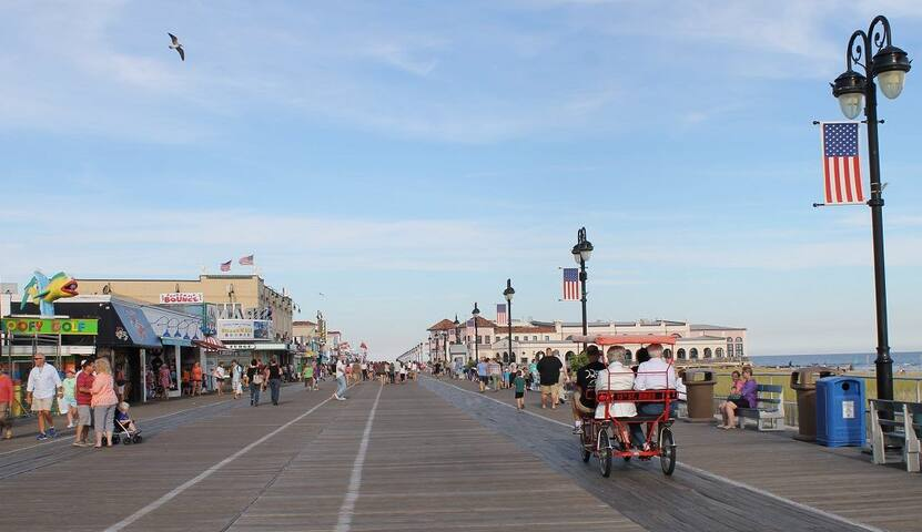 The Ocean City Boardwalk is lined with shops, cafes, amusements and homes on one side of its 2.5 miles and the ocean on the other side. Its one of our greatest features.