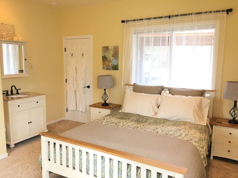 Bedroom 1 -  Queen Bed with memory foam mattress and european style duvet