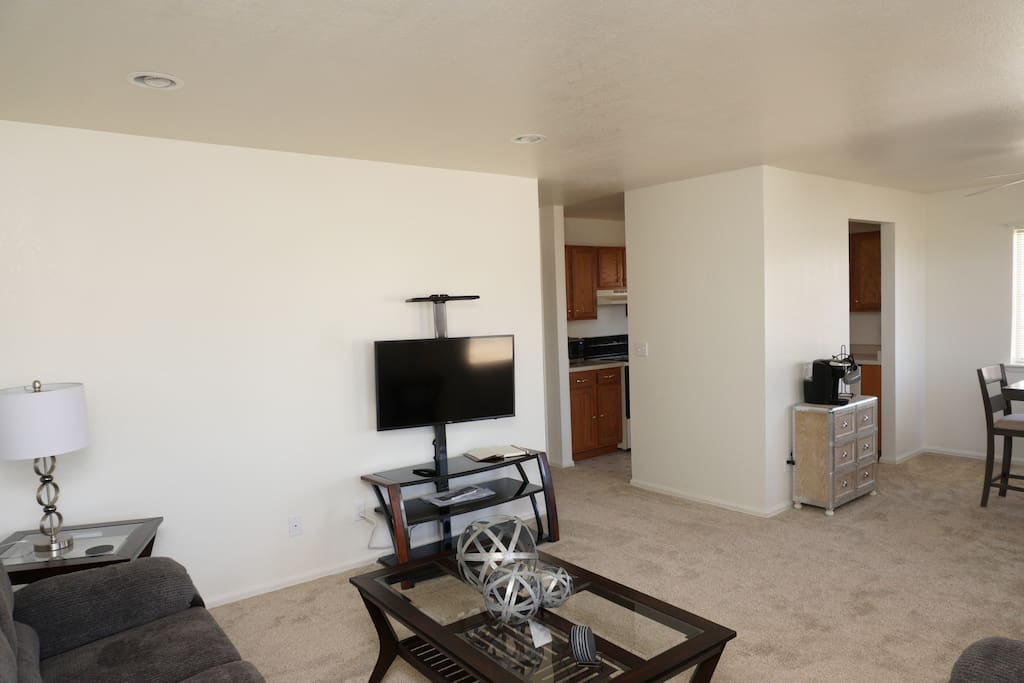 Full size living room with TV and WIFI