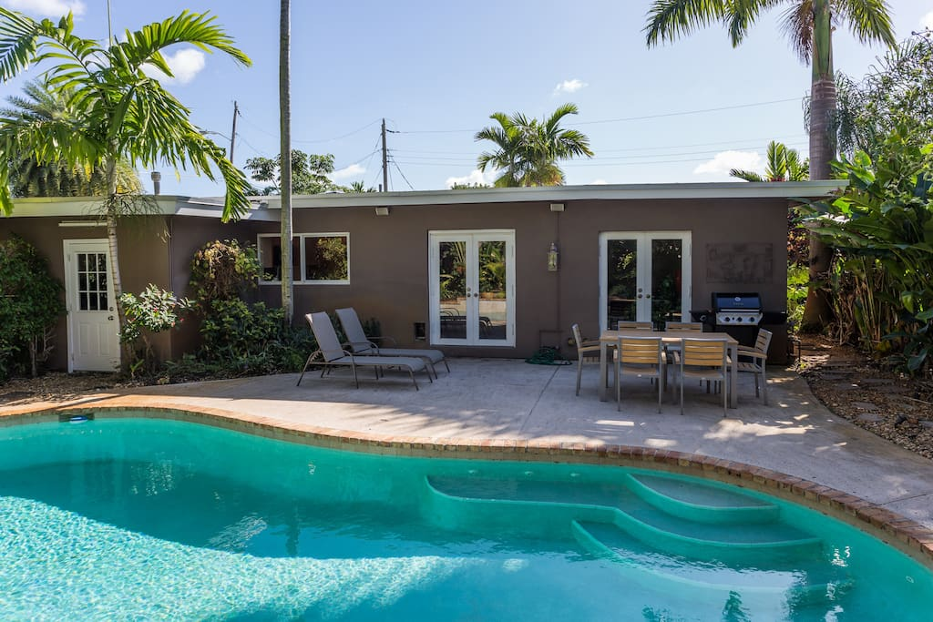 Pool and patio with gas grill