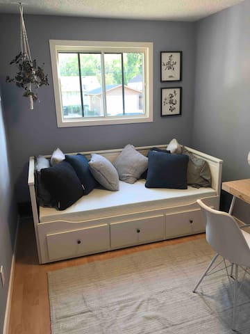 In Periwinkle, day bed converts to a double bed, with a desk and chair for office space.