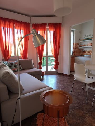 Bright living room connected to the kitchen