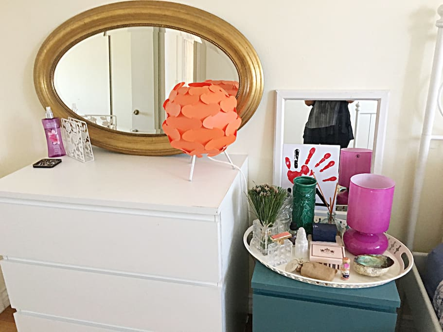 Your own dresser and side table both with drawers.