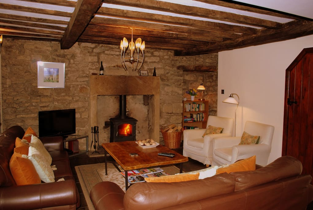 Sitting room with log fire