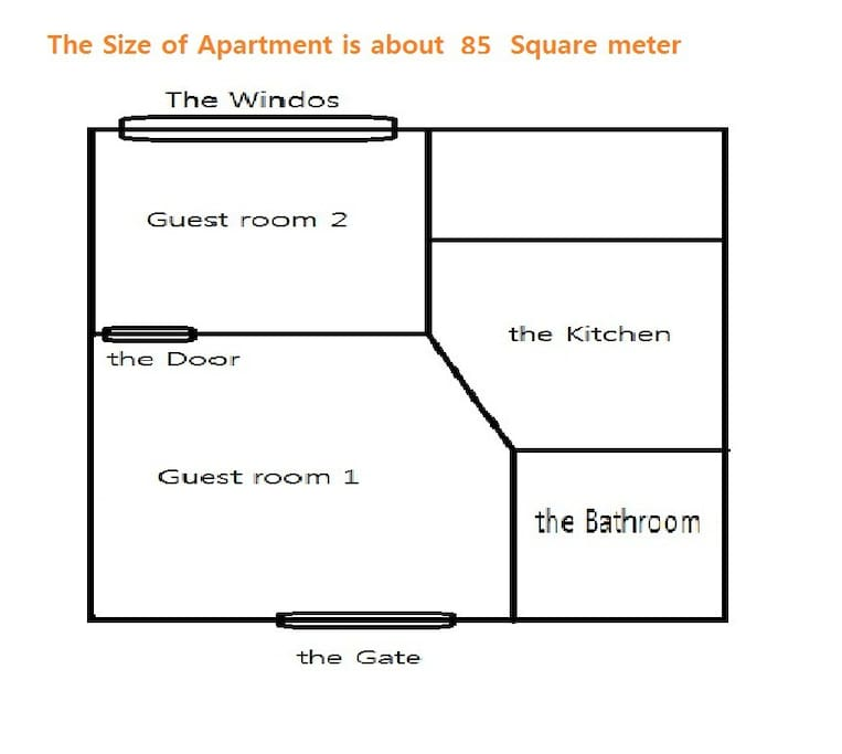 This is floor plan of the apartment. There are 2 guest room, 1 bathroom and 1 kitchen. The size is about 85 square meter.