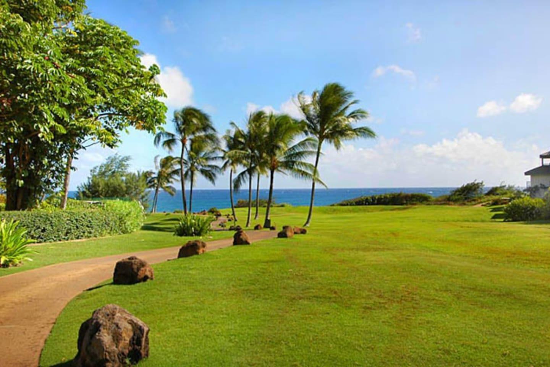 Welcome to Poipu Kai Resort- Greenbelt Pathways from home to Beach!
