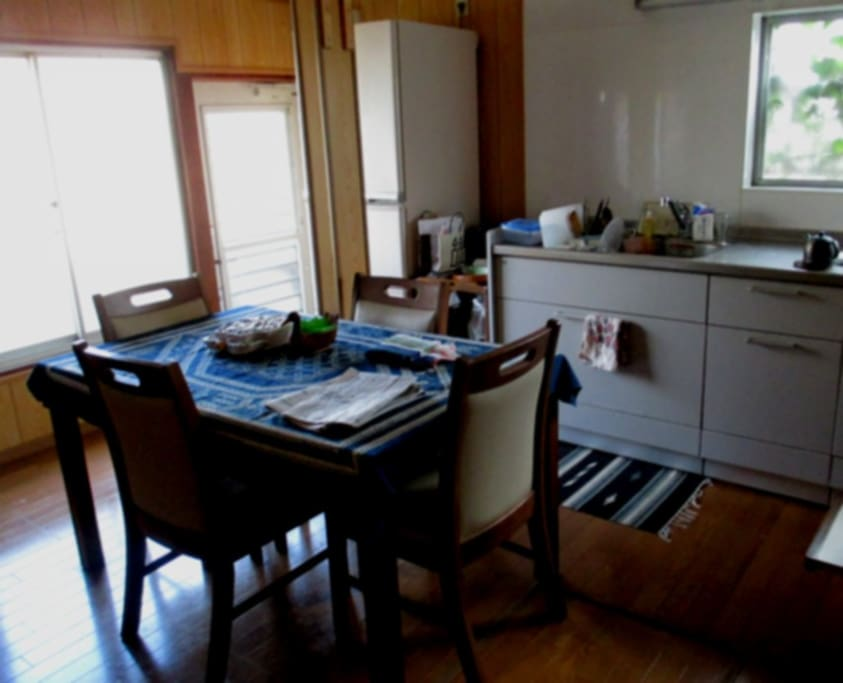 You can cook and eat in the kitchen-cum-dining room (No air conditioner) Feel free to use anything in the kitchen.