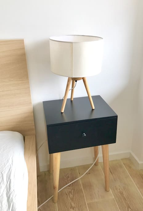 night stand and lamp