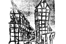 Lithography of the old quarter of Hattingen