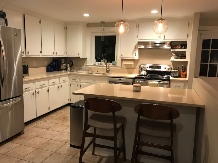 Renovated stainless and quartz kitchen