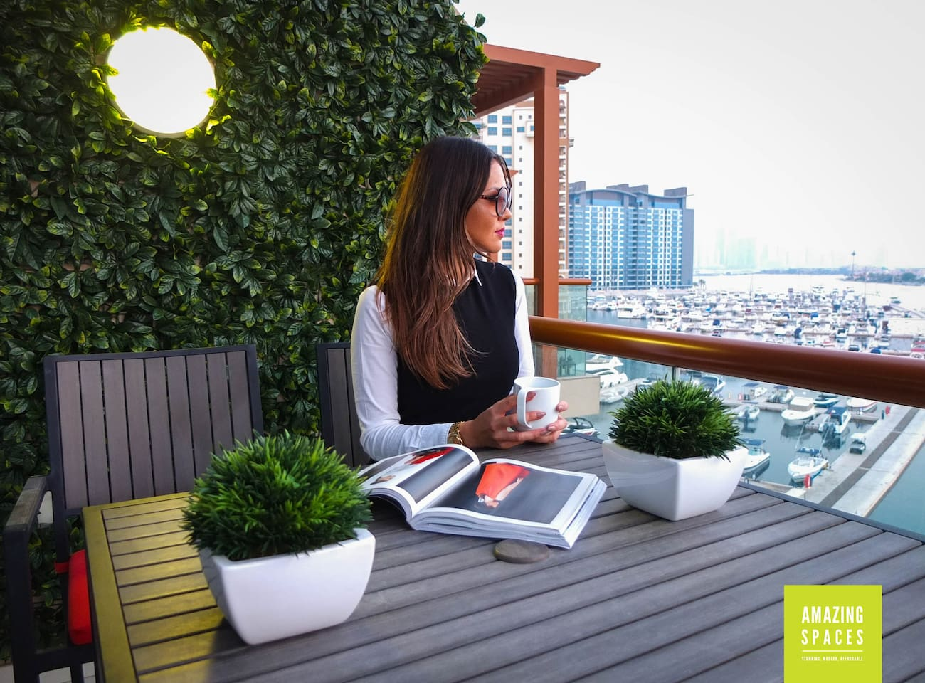 Outdoor balcony garden with stunning views of your own personal marina, Palm Jumeirah and Atlantis hotel.