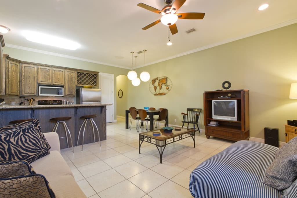 Open kitchen and living areas with plenty of seating space for your group