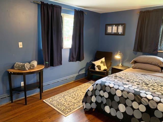 Master Bedroom with large closet, comfy queen bed with a memory foam mattress.