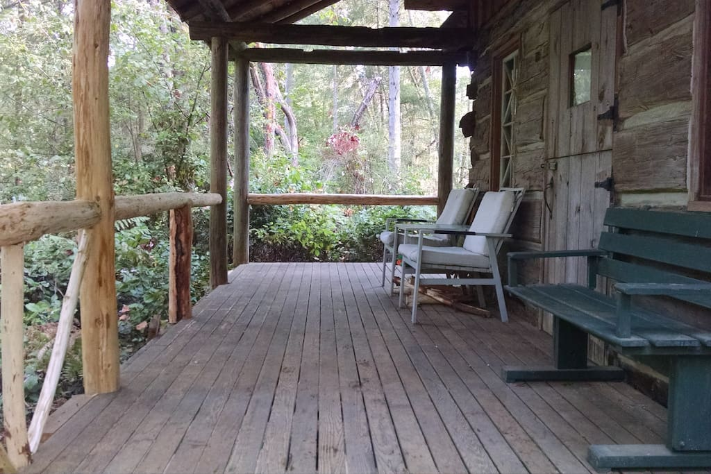 The forest is just a step away - the porch is a favorite place to leisurely wake up with coffee.