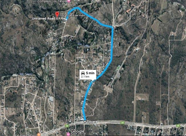 Cómo llegar desde la Ruta 28, que une Carlos Paz con Tanti. Viniendo de Carlos Paz, hay que doblar a la derecha en la entrada de la Asociación Bancaria