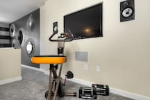 Exercise bike and weights