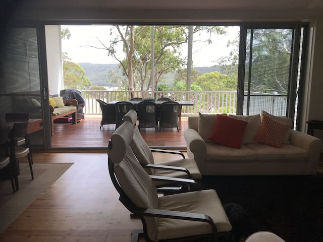 The living area opens to a large north facing deck. Great place to have breakfast, lunch and dinner.