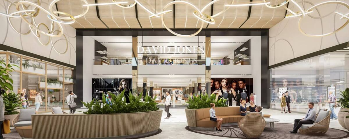 Westfield carousel shopping centre / center with David Jones, MYER, hundreds of stores and 30 restaurants