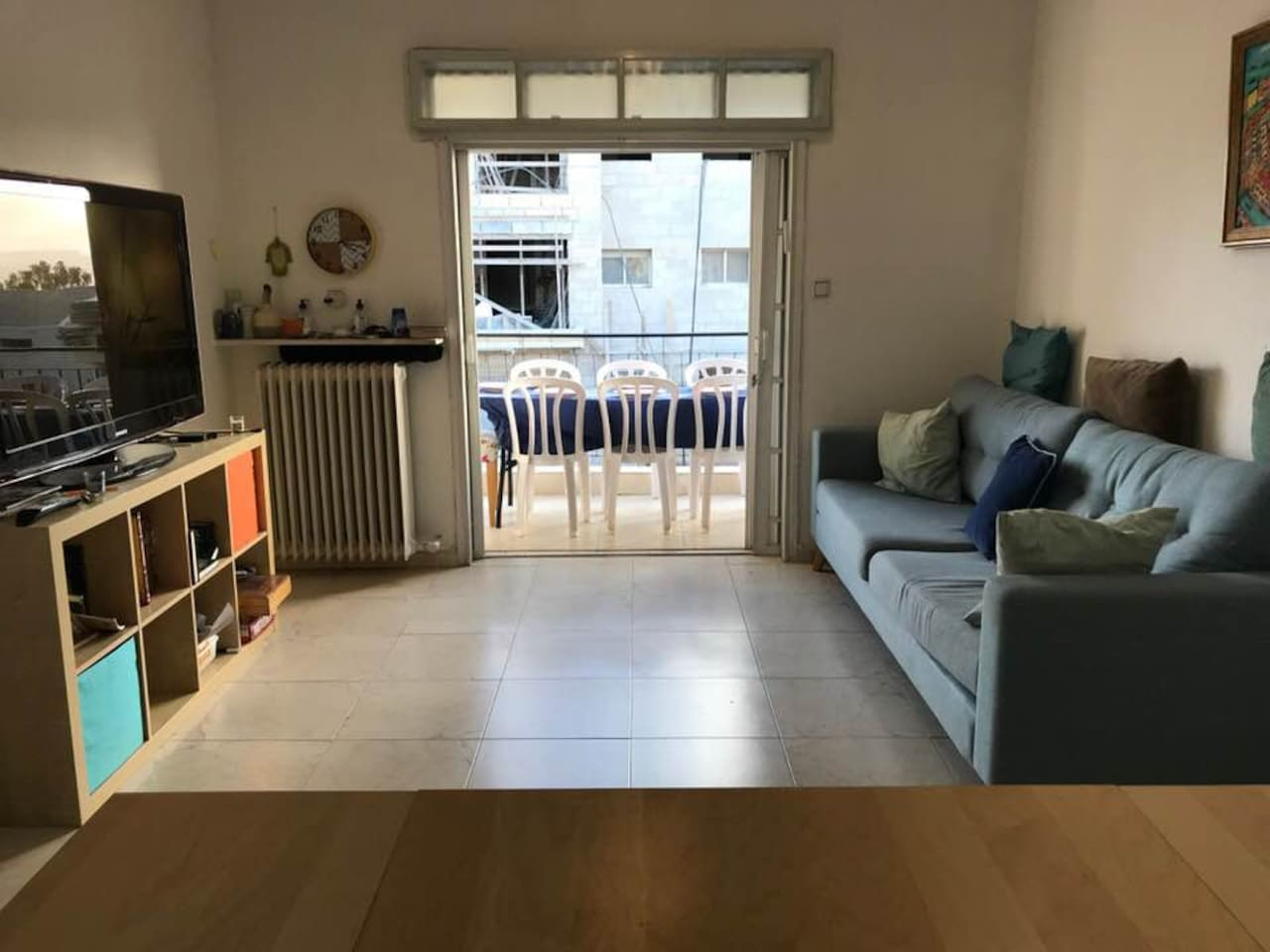 shared living room with tv and comfy couch