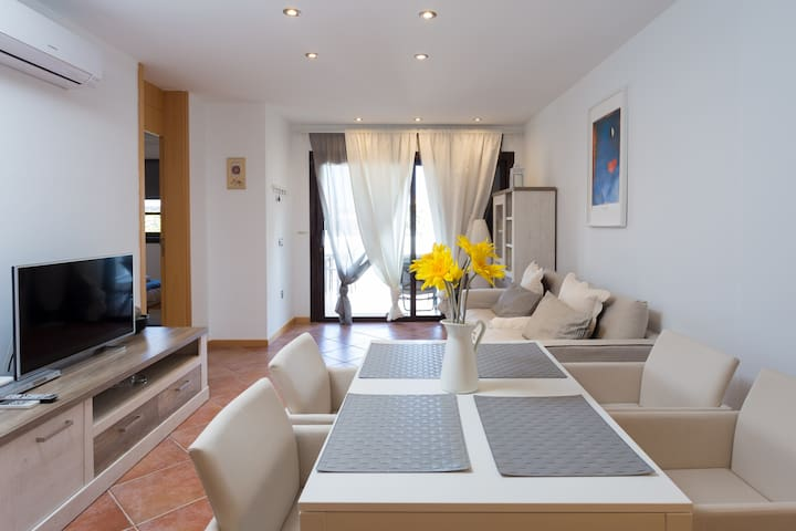 cozy living room with dinning table, smart TV, AC