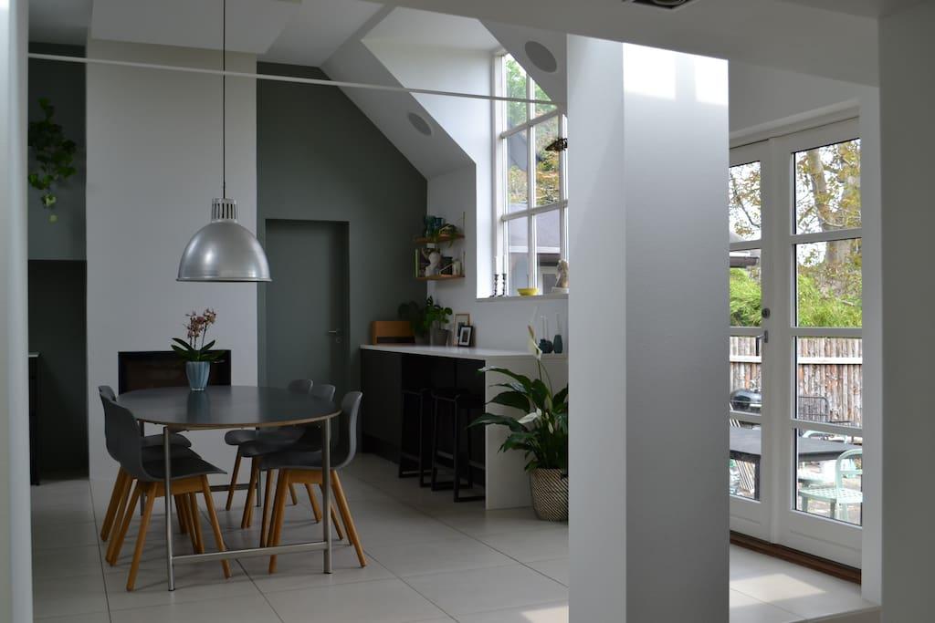 Kitchen with door to terrace and garden.
