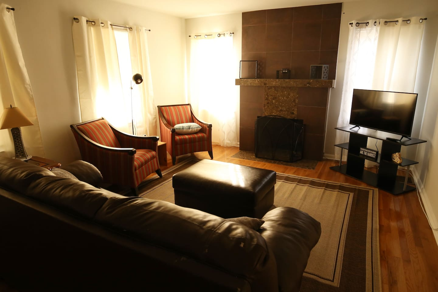 Living Room with TV, fireplace & pullout sleeper sofa